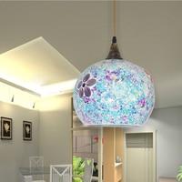 25cm styl boho klosz szklany śródziemnomorski wielokolorowy lampa wisząca korytarz do sypialni jednogłowicowa oprawa w Wiszące lampki od Lampy i oświetlenie na