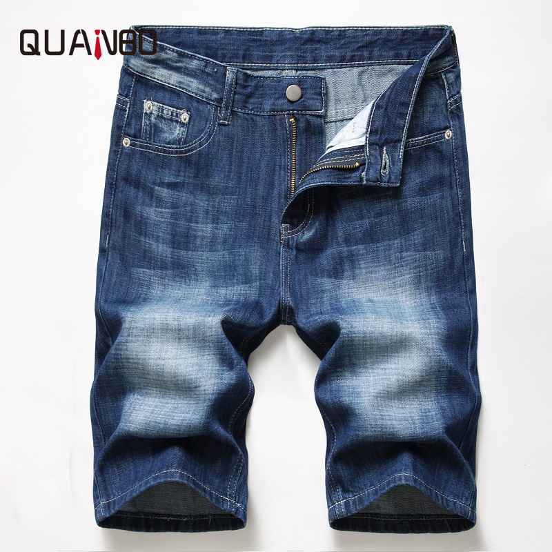 Men's Summer New Casual Slim Fit Stretch Denim Shorts Fashion Ripped Hole Jeans Breathable High Quality Elastic Denim Shorts 42