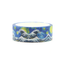 Starry sky Great Wave off Kanagawa cartoon DIY Sticky Adhesive washi Paper Masking Tape Printed Patterns stickers decals E0148
