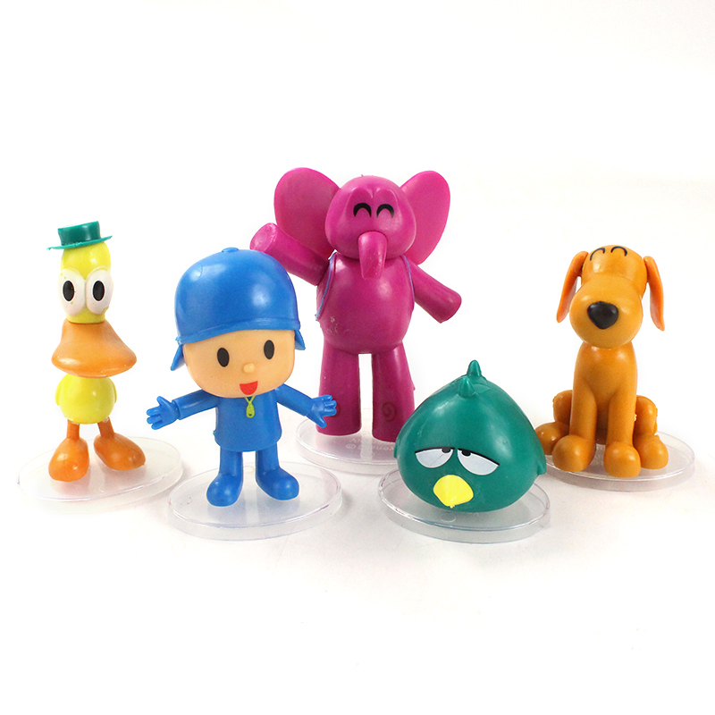 5pcs//set Pocoyo Pato Elly Loula Sleepy bird PVC Action Figures Toy Doll