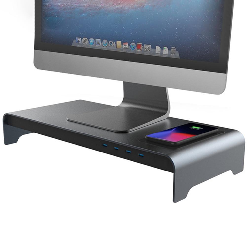 Smart Base Aluminum Alloy Computer Laptop Base Stand with 4 USB 3.0 Port VJ-Drop