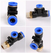 Pneumatic quick joint fitting PD T-shape Threaded side tee 04 06 08H 10 12 with thread M5 01 02 03