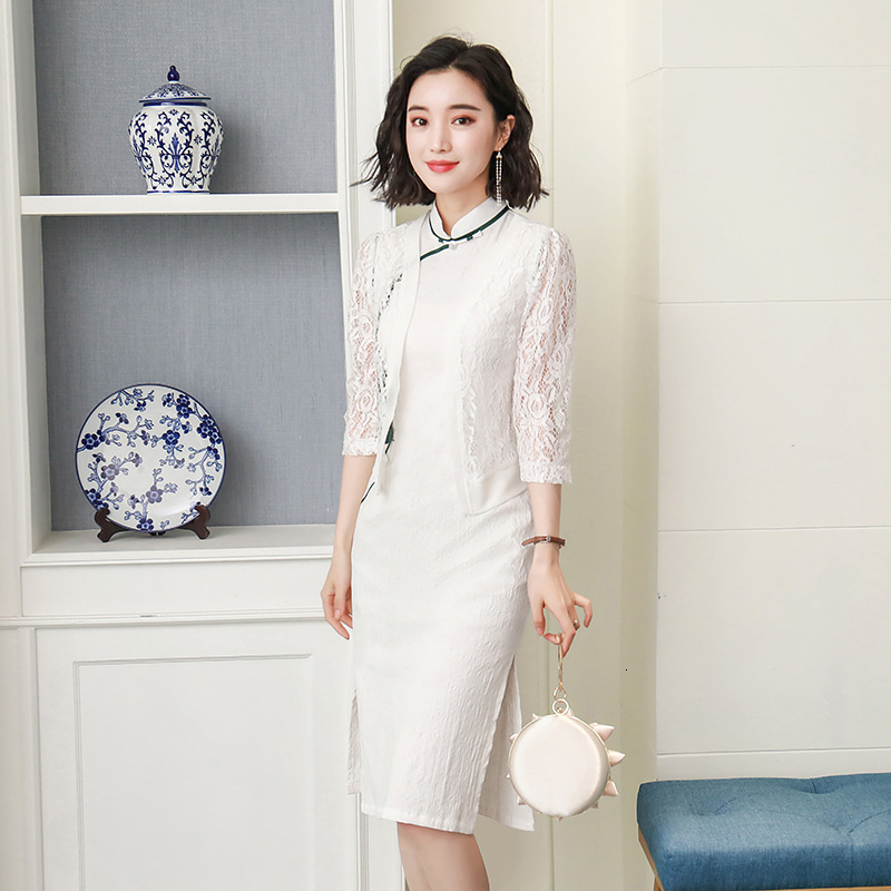 White Sleeveless Qipao Lace Shawl Cheongsam Elegant Banquet Dress Cotton Linen Women Chinese Traditional Clothes