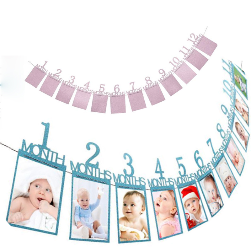 Bbay Birthday Theme Party Photo Banner Decorations Toys 1-12 Months Baby Photo Folder Monthly Photo Wall Home Decoration Banner