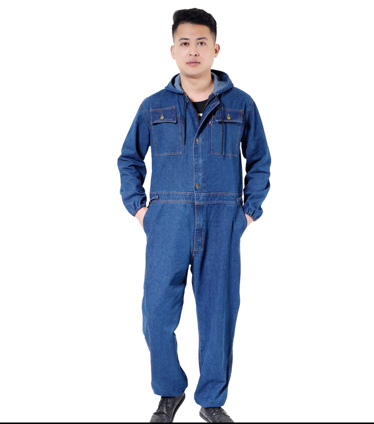 Worker clothing workwear overalls denim jumpsuit male/female Factory uniform Work clothes Long-sleeved Thick hooded welding suit