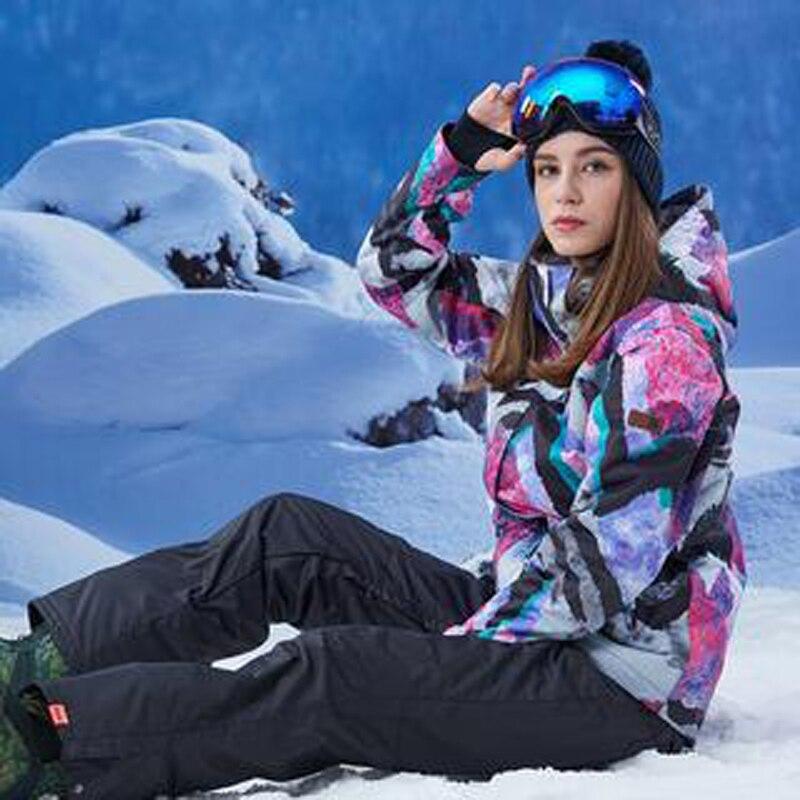 Mode coloré GS femmes neige costume ensembles Sports de plein air snowboard vêtements 10K imperméable coupe-vent veste de Ski et pantalon de neige