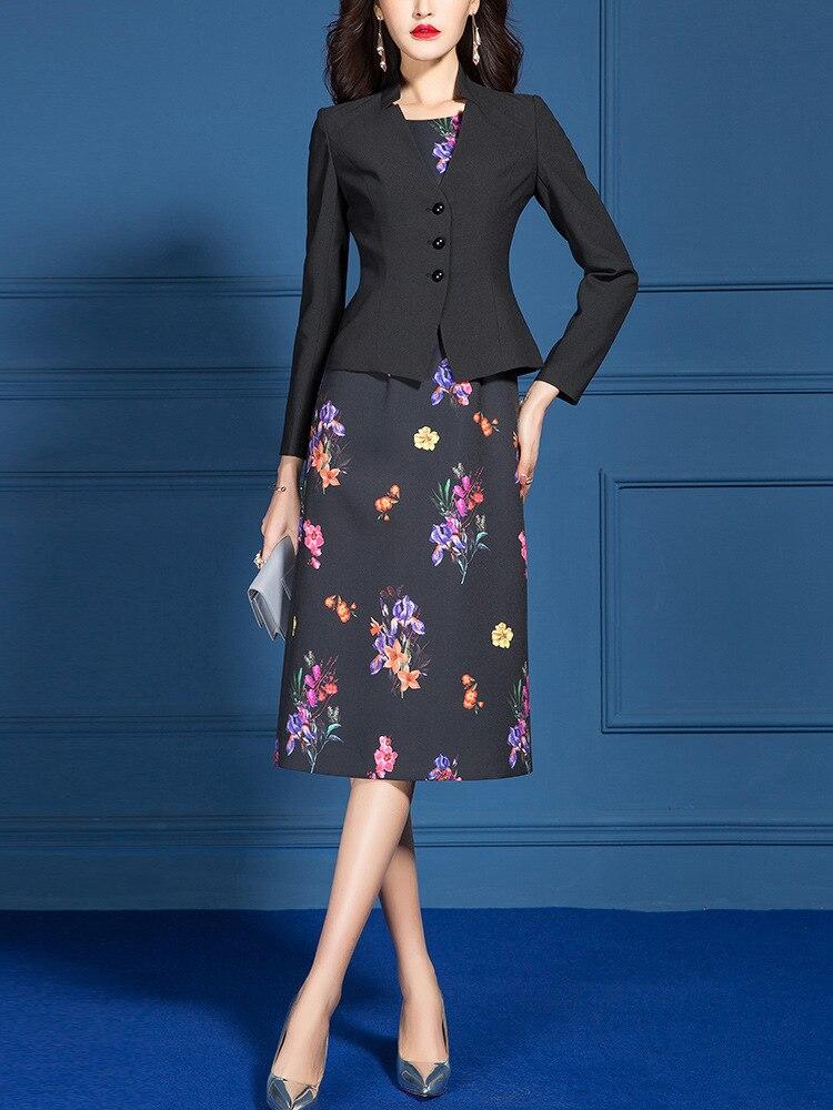 Women Suits Elegant Office Ladies Formal Work Business Wear Slim Blazer Jacket Plus Size Knee Length Floral Dress Two Piece Set