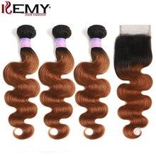 T1B/30 эффектом деграде(переход от темного к каштановые человеческие волосы пряди с Закрытие 4x4 бразильские волнистые волосы человеческие удлиненные мелирование волоса Кеми волос Remy пряди