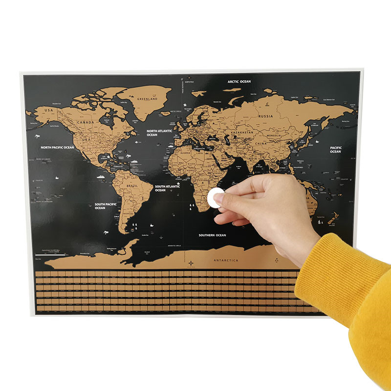 1pcs Scratch Map World Map 40 * 30cm Decorative Wall Sticker Home Office Student Teaching Equipment Decorative Poster