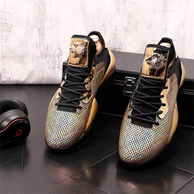 Zapatos informales con plataforma para Hombre, Zapatillas de deporte de cuero, con aumento de altura, estilo Hip hop, color dorado y plateado 3