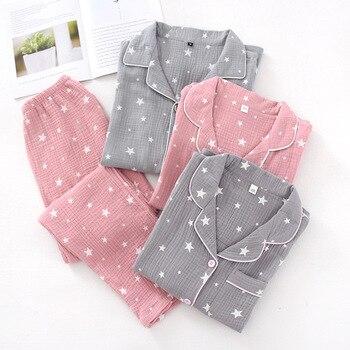 Pentagram Print Couple Pajamas Set Spring and Autumn Loose Cotton Women and Men Pyjamas Long Sleeve Sleepwear Men Lounge Pijama