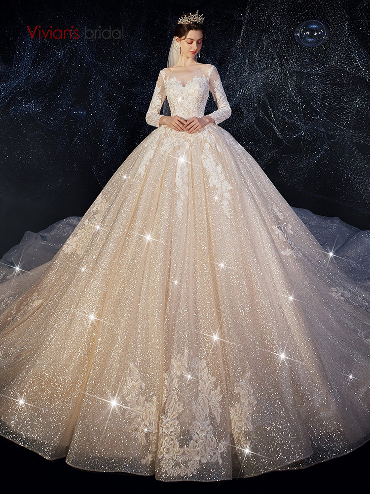 Vivian's Bridal Luxury Twinkling Wedding Gown Elegant Illusion Long Sleeve Lace Appliques Chapel Train Shiny Bridal Ball Gown