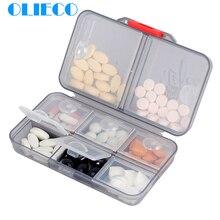 OLIECO Pill Cases Splitters Portable 8 Grids Medical Drugs Tablet 7 day Travel Granules Holder Box Household Medicine Organizer