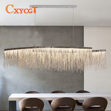 Modern chandelier creative aluminum chain meteor shower lamp hotel lobby restaurant silver