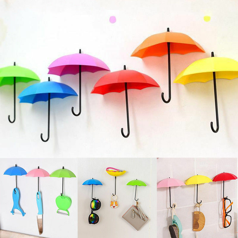 3Pcs Colorful Cute Umbrella Form Wall Hooks Mount Key Hair Pin Holder Hanger Organizer Decorative Home Storage Organization HOT