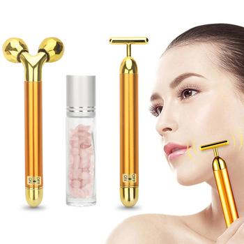 3 in 1 Roller Massager Facial Beauty Bar 24k Golden Vibrating Full Body Massage Device Face Lifting Anti Wrinkle Skin Care Tools 1
