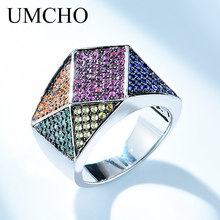 UMCHO Rainbow Color Rings Genuine 925 Sterling Silver Cocktail Ring For Women Engagement Gift Gemstones Jewelry
