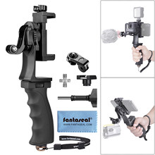 2in1 Ergonomis Action Camera Hand Grip Smartphone Clip Stabilizer Menangani Mount Youtube Vlogger Video Terus Kit Untuk GoPro Sony(China)