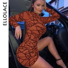 Ellolace Mesh Mini Dress Women Bodycon Long Sleeve Elegant Dresses O Neck Print Streetwear Sexy 2019 Slim New Clothing
