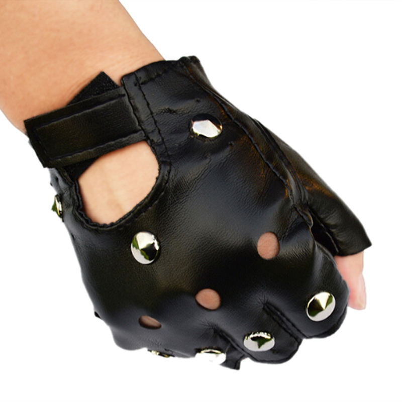 1pair Black Leather Fingerless Short Gloves Black Rivets Stud Half Finger Mittens Fashion