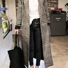 Plaid Coat Pocket-Jackets Cashmere Winter Long Women Outwear Button Autumn Warm Casual