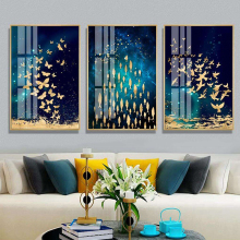 Golden Butterfly Fish Bird Dance Poster Nordic Style Wall Art Picture Canvas Poster Print Painting Abstract Picture Home Decor