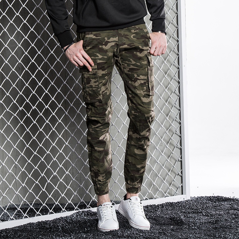 2018 New Style Spring And Autumn Men'S Wear Military Style Multi-pockets Casual Pants Loose-Fit Men's Camouflage Pants Multi-poc