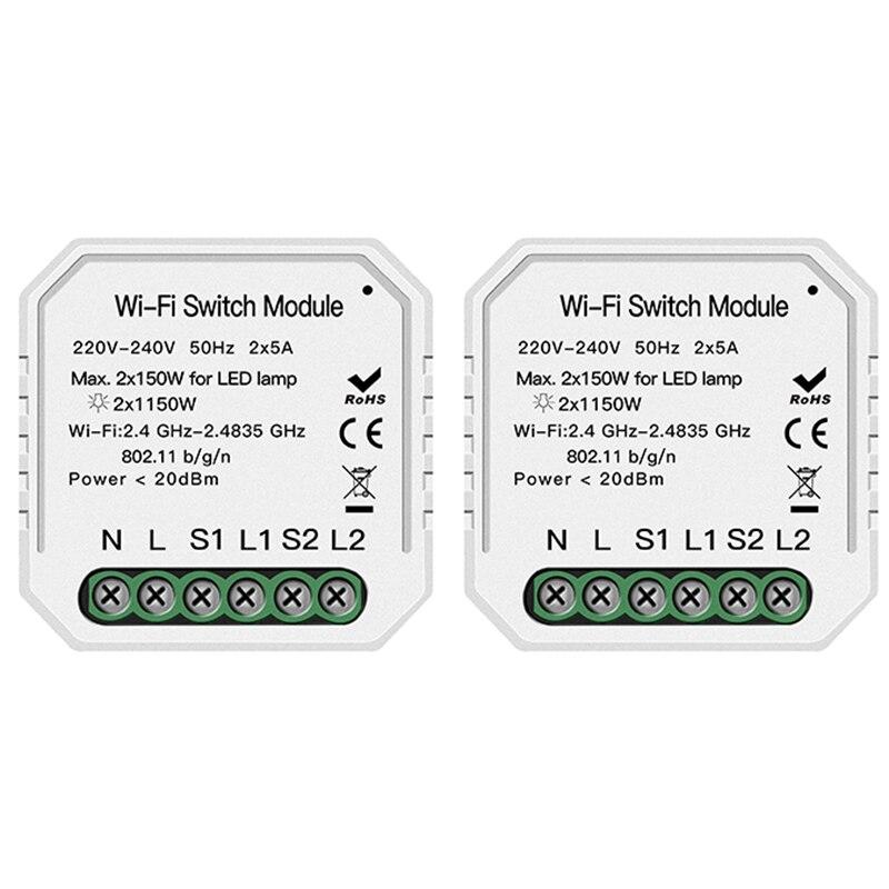 2 Way Wifi Smart Light Switch Diy Breaker Module Smart Life/Tuya APP Remote Control,Working With Alexa Echo Google Home