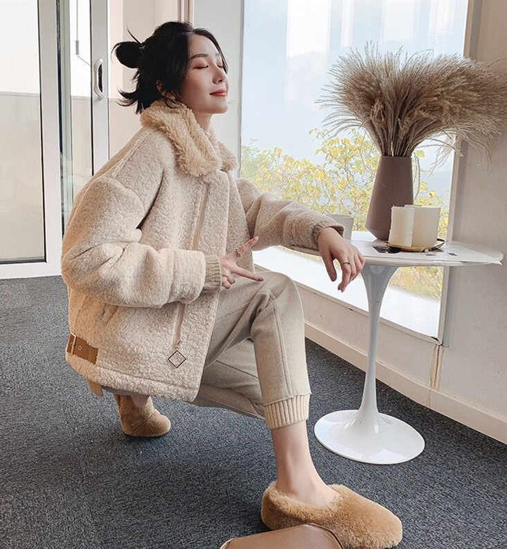 2019 Winter New Style Fashion South Korea WOMEN'S Dress Fur Lambs Wool Coat Short-height Thick Jacket