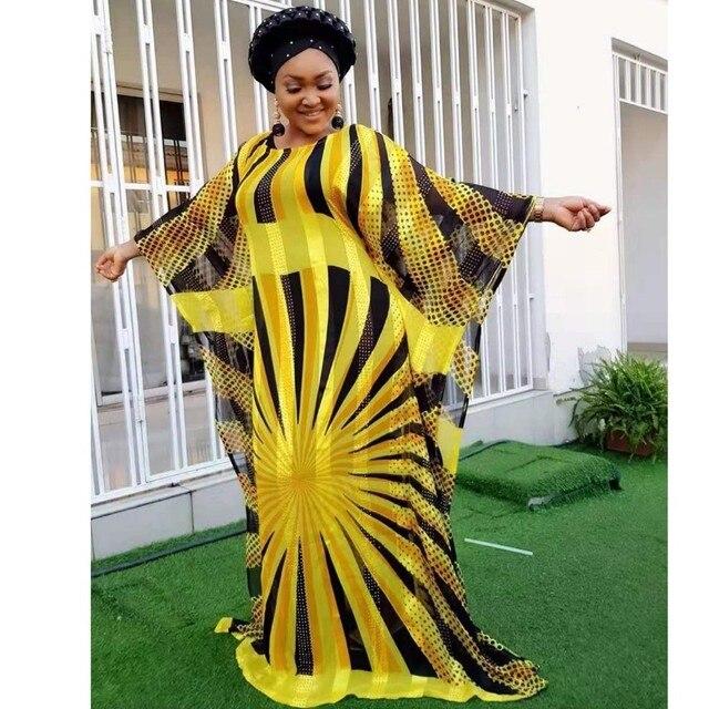 Żółta szyfonowa afrykańska sukienka es dla kobiet odzież z afryki długa suknia islamska wysokiej jakości długość moda afrykańska sukienka dla pani