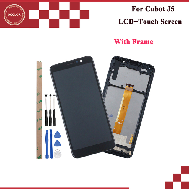 ocolor For Cubot J5 LCD Display and Touch Screen 5.5  Replacemen For Cubot J5 Screent With Tools And Adhesive With Frame