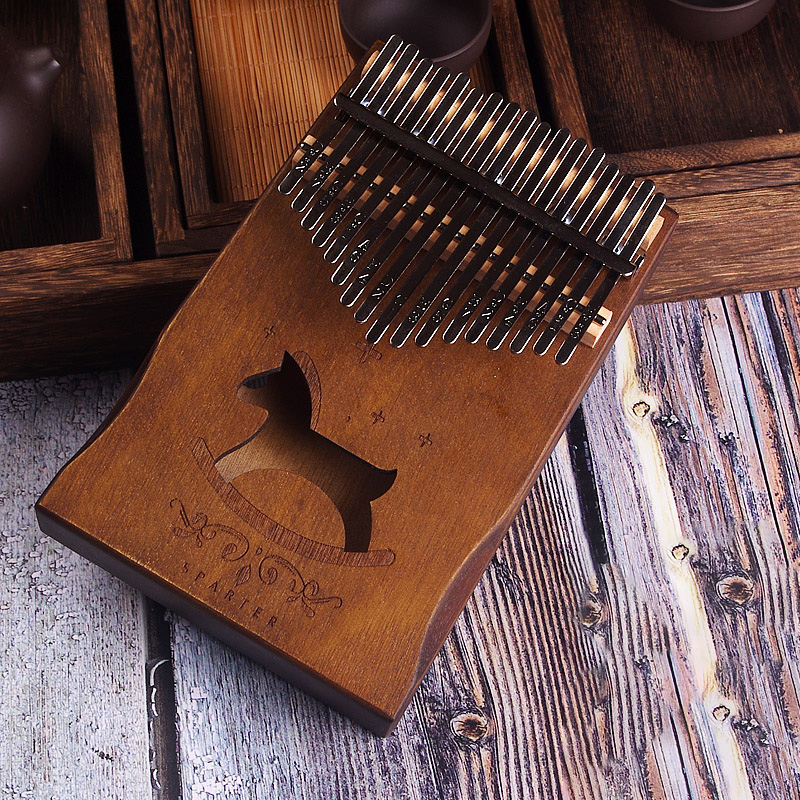 Image 2 - 17 Keys Kalimba African solid Mahogany Thumb Piano 17 keys Solid Wood Kalimba Musical Instrument High Quality Wood Finger Piano-in Piano from Sports & Entertainment