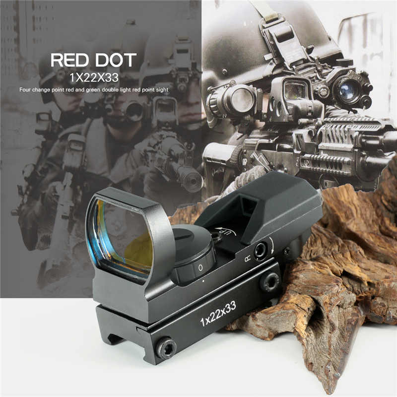Hot 15-22mm Ferroviario Cannocchiale Ottiche da caccia Olografico Red Dot Sight Reflex 4 Reticolo Tactical Scope Collimatore Sight