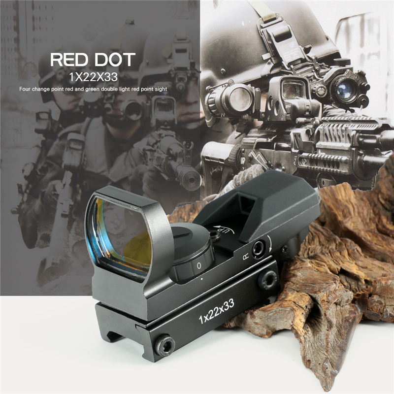 Hot 15-22mm Rail Riflescope Hunting Optics Holographic Red Dot Sight Reflex 4 Reticle Tactical Scope Collimator Sight