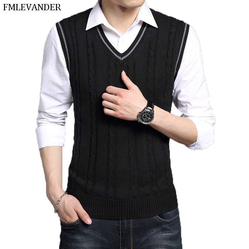 Sweater Men 2019 Autumn Winter Soft Warm Cashmere Woolen Mens Sweaters Fashion V-Neck Sleeveless Sweater Vest Pull Homme