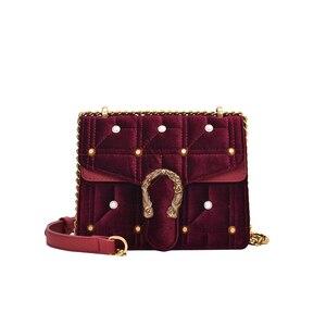 Бархатные сумки через плечо для женщин 2019 новая зимняя маленькая квадратная сумка женская модная брендовая сумка на плечо роскошная сумка-...