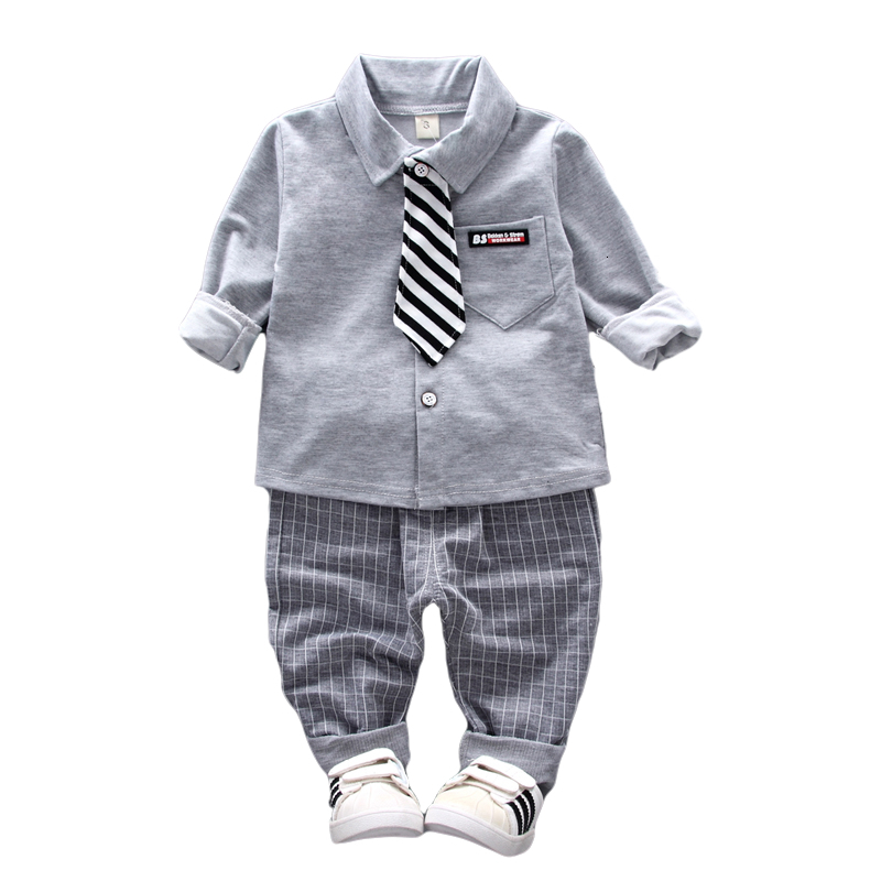 2020 New Spring Baby Boys Clothing Formal Infant Gentleman Tie Shirt Pants 2Pcs/Sets Cotton Kids Clothess Children Leisure Suits