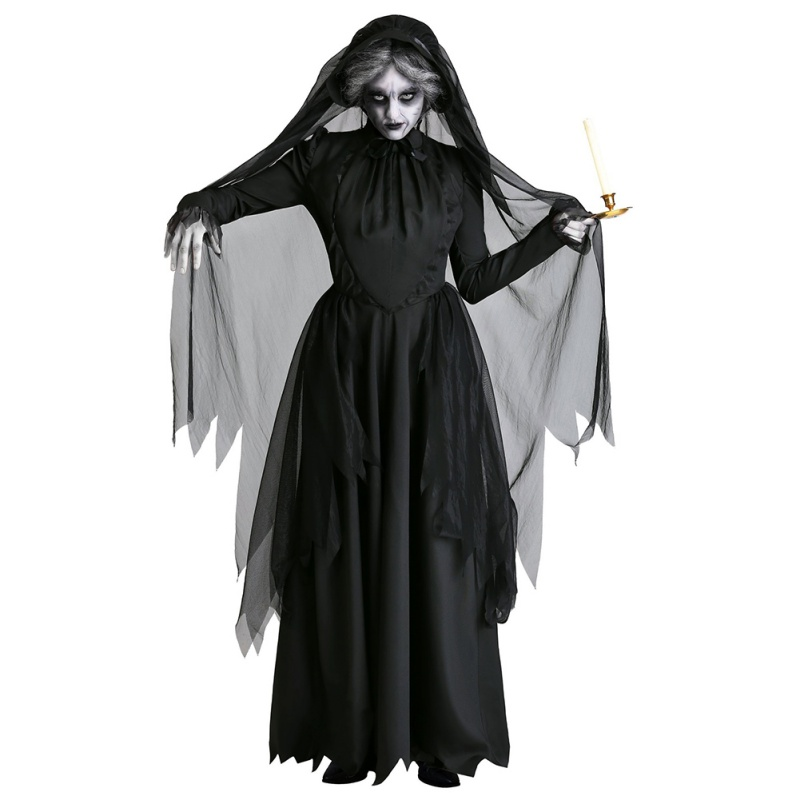 Lady 2019 Halloween Costume Ghost Bride Devil Vampire Witch Party Party Stage Permance Dress Wear Black
