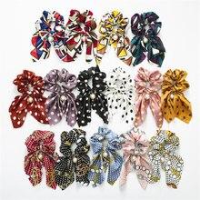 Модные летние хвост шарф; резинка для волос, обтянутая тканью; веревка для Для женщин волос галстук-бабочка резинки для волос Цветочный принт лента, украшение для волос