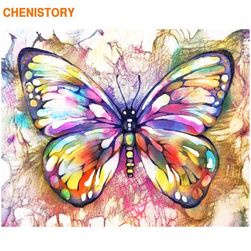 CHENISTORY çerçeve kelebek DIY boyama By Numbers renkli boya By Numbers duvar sanat resmi boyama By Numbers ev dekor için