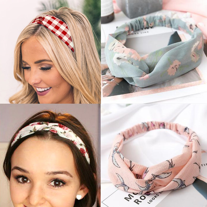2019 NEW Summer Chiffon Headband Women Hair Accessories Turban Twist Cross Hairband Headwrap Girls Flower Striped Knot Hair Band