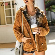 Shaggy Plaid Female Coat