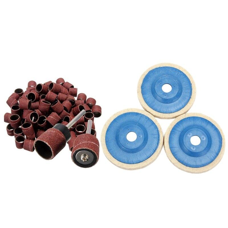 3Pcs 100Mm 4Inch Grinding Pad Wool Polishing Disc Abrasive Wheel Felt Buffer Set & 100Pcs 1/2 Inch Polished Sandpaper Ring Abras|Polishing Pads| |  - title=