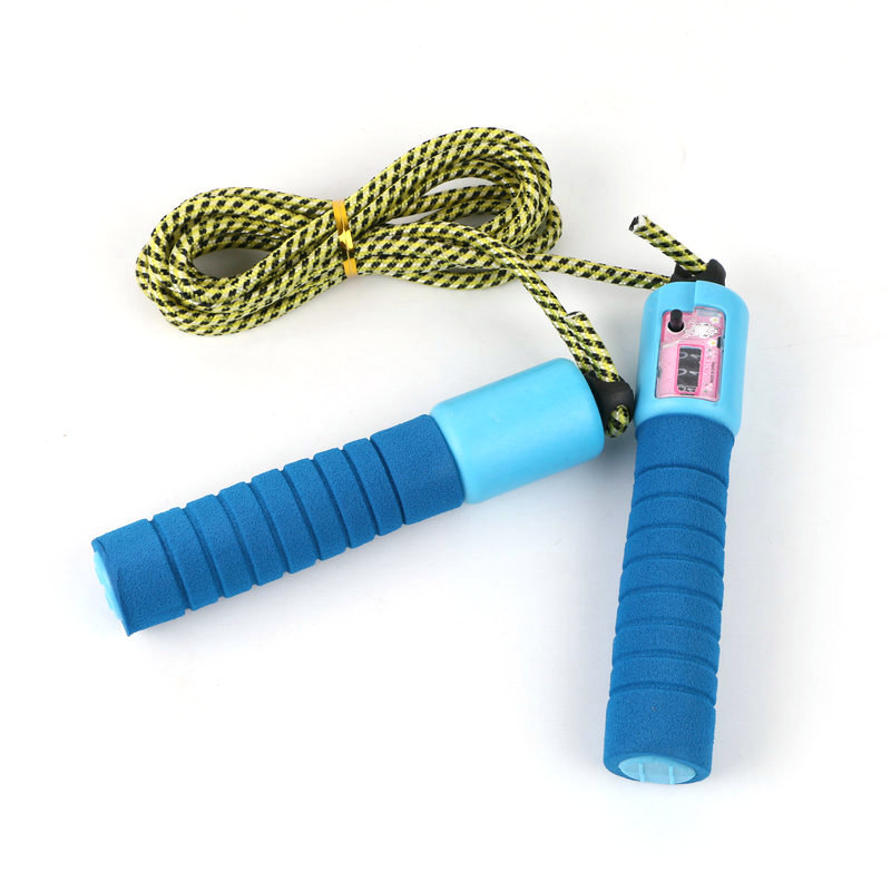 [] High Quality Durable Sponge Handle Bag Count Jump Rope Students Fitness