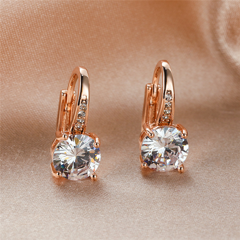 Female Luxury White Zircon Round Stone Hoop Earrings For Women Wedding Jewelry Vintage Fashion Rose Gold/Yellow Gold CZ Earrings