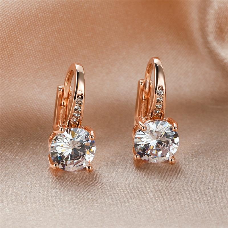Female Luxury White Zircon Round Stone Hoop Earrings For Women Wedding Jewelry Vintage Fashion Rose Gold/Yellow Gold CZ Earrings