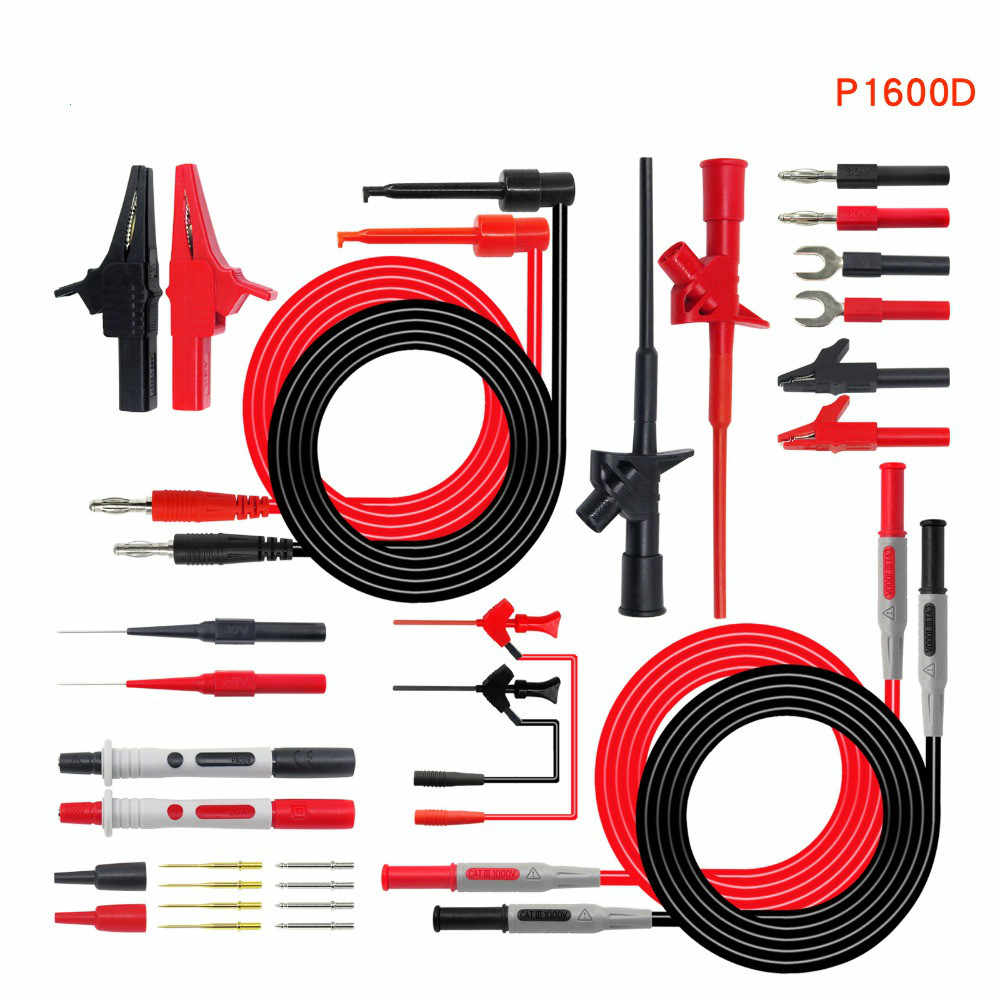 Cleqee-2 P1600D Multimeter Probe Automotive Probe Set Ic Test Hook Clip Alligator Clip 4Mm Banaan Plug Wire Test Leads kit