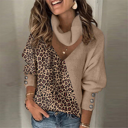 Woman Sweaters Knitted Leopard Patchwork Turtleneck Sweaters Pullover Spring Button Long Lantern Sleeve Loose Women Sweaters