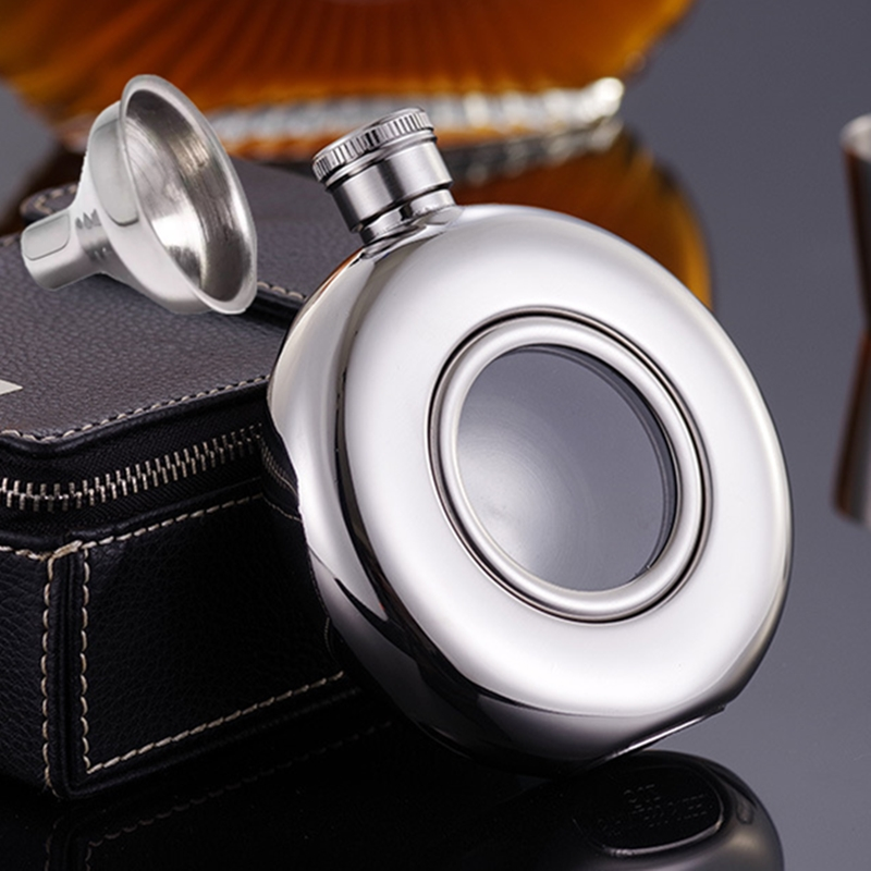 5oz Round Semi-transparent Stainless Steel Hip Flask Wine Pot Portable Free Funnel Camping Flagons Alcohol Liquor Whiskey Bottle