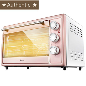 Authentic 30L pink Multifunctional automatic electric oven Cake Makers  stainless steel  4 independent Heating tube 60min timing